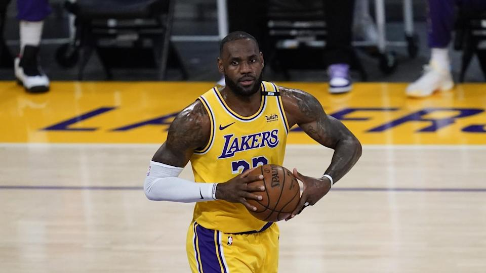 Lakers forward LeBron James controls the ball during Game 6 of the Western Conference quarterfinals.