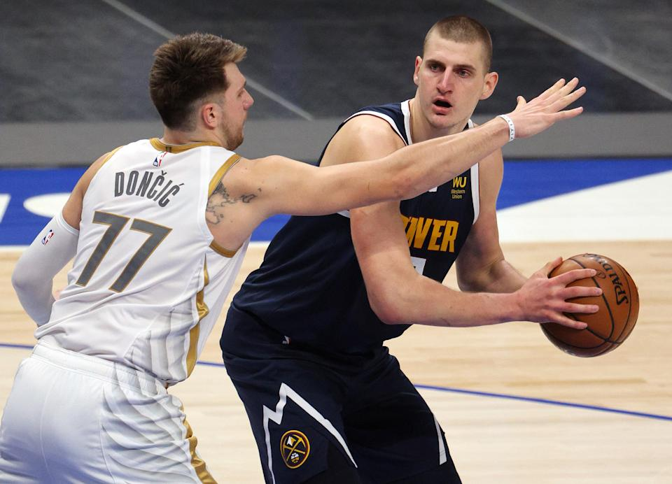 Luka Doncic and Nikola Jokic are both on track to be among the NBA's all-time greats, but will either qualify for the list of 75 Greatest Players so early in his career? (Ronald Martinez/Getty Images)
